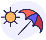sun and red and blue umbrella