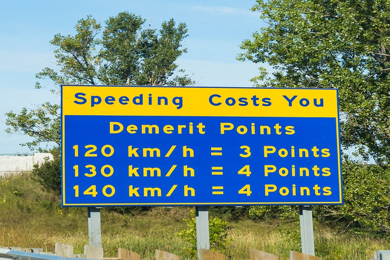 """Speeding demerit points sign,  120 km/h = 3 points, 130 km/h = 4 points, 140 km/h = 4 points"""