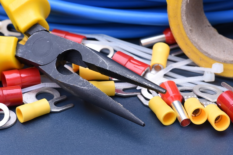 blue, yellow, red tools clamp