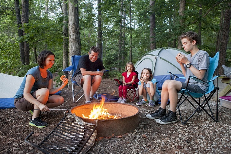 """""""family camping by a bonfire"""""""