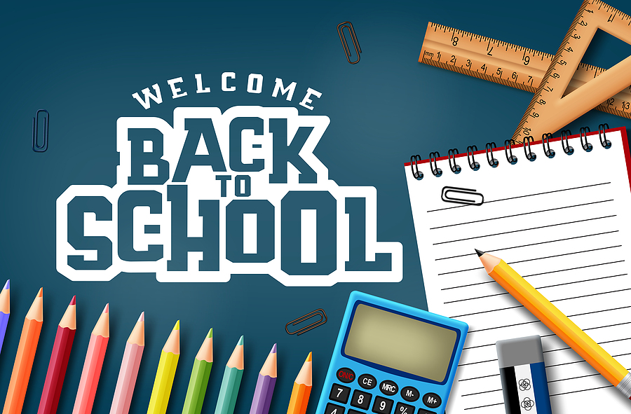 back to school on chalkboard, pencil, calculator, eraser