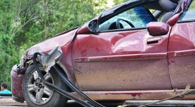 red car crash