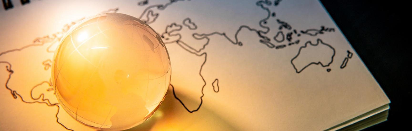 world globe crystal on glass