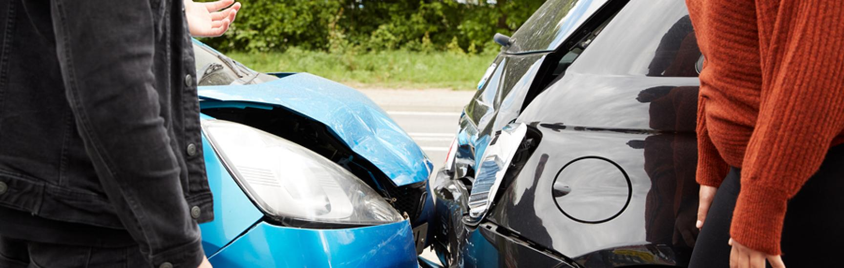 car crash blue and black car