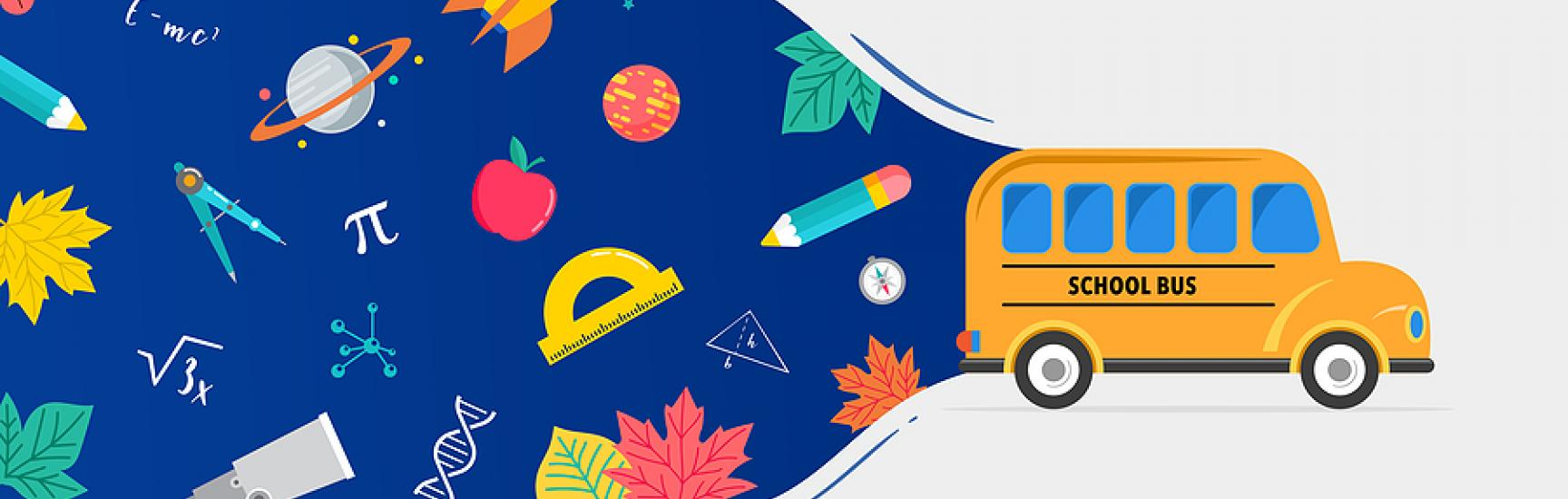 school bus driving with space background