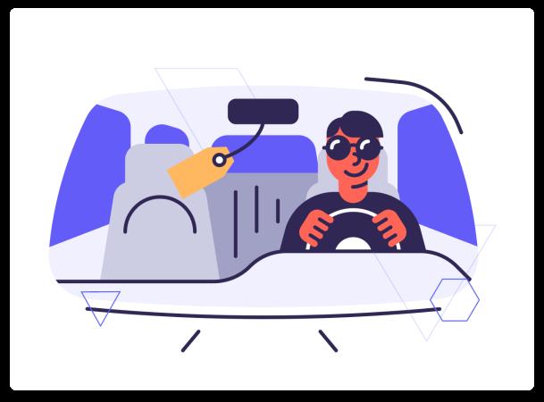 man driving in car surex illustration image